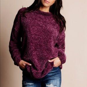 RYLEE Softest Chenille Sweater - PLUM